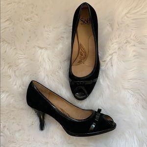 Black Leather Sofft Peep-toe Heels